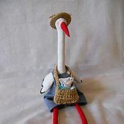 Куклы и игрушки ручной работы. Ярмарка Мастеров - ручная работа Аист тильда с младенцем  Птица счастья. Handmade.