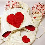"""Работы для детей, ручной работы. Ярмарка Мастеров - ручная работа Комплект (шапка, шарф, варежки) """"От сердца к сердцу"""". Handmade."""