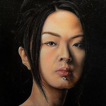 """Картины и панно ручной работы. Ярмарка Мастеров - ручная работа Портрет на холсте """"Beauty"""". Handmade."""
