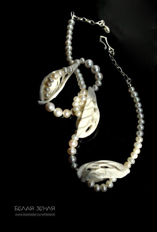 Колье, бусы ручной работы. Ярмарка Мастеров - ручная работа. Купить Ожерелье с  жемчугом, фарфор, серебро.. Handmade. объемное ожерелье