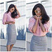 Одежда handmade. Livemaster - original item Sweater cotton pink Push Up effect. Handmade.