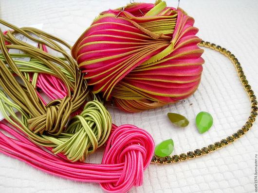 Для украшений ручной работы. Ярмарка Мастеров - ручная работа. Купить Лента Шибори 10 см окрашенная вручную шелковая лента Shibori. Handmade.