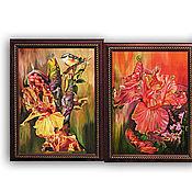 Картины и панно ручной работы. Ярмарка Мастеров - ручная работа Триптих Колибри на ирисах. Handmade.