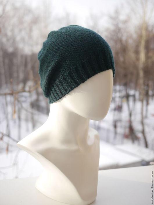 Шапки ручной работы. Ярмарка Мастеров - ручная работа. Купить Вязаная шапка. Handmade. Тёмно-зелёный, женская шапка, унисекс