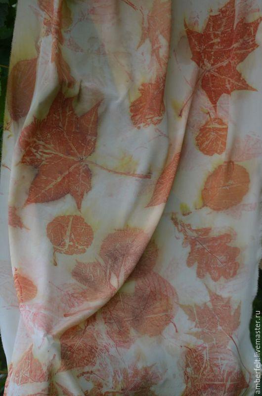 """Шарфы и шарфики ручной работы. Ярмарка Мастеров - ручная работа. Купить Шелковый шарф - палантин """"Охра"""", в эко стиле.. Handmade."""
