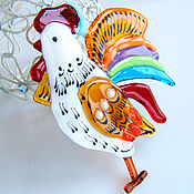 Подарки к праздникам handmade. Livemaster - original item Cock of glass. cock the symbol of 2017. Cock fusing. glass.. Handmade.