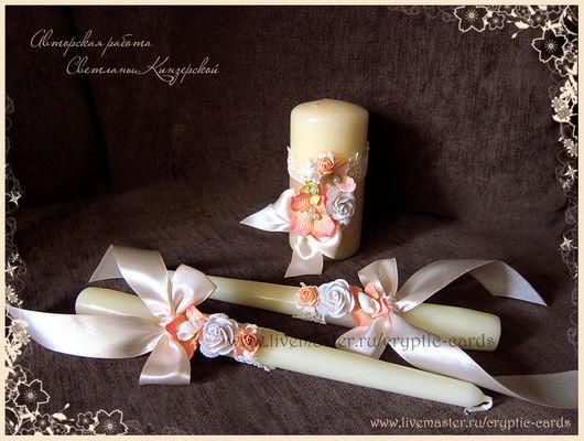 """Свадебные аксессуары ручной работы. Ярмарка Мастеров - ручная работа. Купить Набор свадебных свечей """" Нежность моря"""" разные цвета. Handmade."""