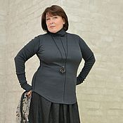 Одежда handmade. Livemaster - original item Turtleneck-with elastic leather. piping and MiTek. cotton. Art. 293. Handmade.
