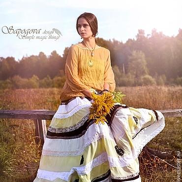 Одежда ручной работы. Ярмарка Мастеров - ручная работа Бохо юбка с кружевом Golden sunrise. Handmade.
