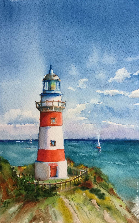 Акварель маяк море на высоте,пейзаж ручной работы,акварель,акварель море,акварель в подарок,акварельный пейзаж