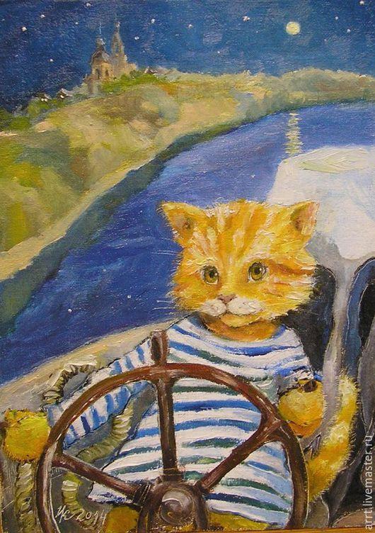 Подарки для мужчин, ручной работы. Ярмарка Мастеров - ручная работа. Купить Морекот Принт авторский 15х20 Рыжий кот моряк. Handmade.