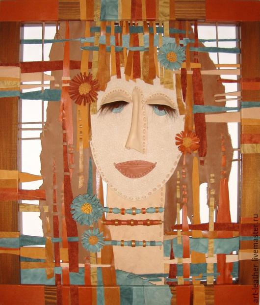 """Люди, ручной работы. Ярмарка Мастеров - ручная работа. Купить декоративное панно из натуральной кожи """"Марина..."""". Handmade. Разноцветный"""