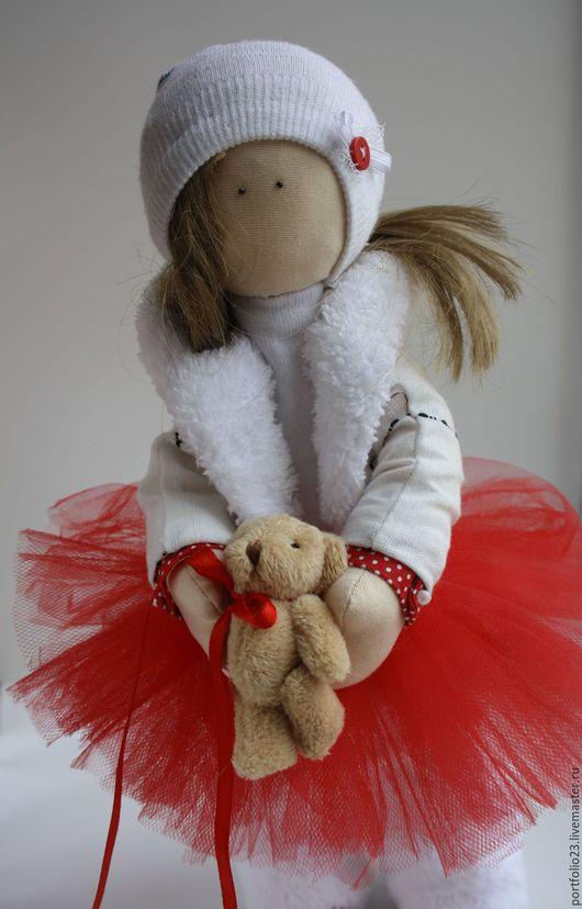Куклы тыквоголовки ручной работы. Ярмарка Мастеров - ручная работа. Купить Кукла текстильная АВГУСТА. Handmade. Ярко-красный, кукла