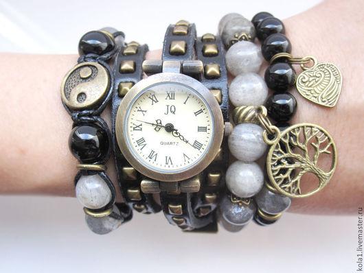 """Браслеты ручной работы. Ярмарка Мастеров - ручная работа. Купить Часы-браслеты """"Асфальт"""". Handmade. Темно-серый, часы наручные"""