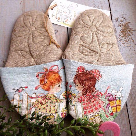 """Обувь ручной работы. Ярмарка Мастеров - ручная работа. Купить ЭКО тапочки """"Две подружки"""". Handmade. Тапочки ручной работы"""
