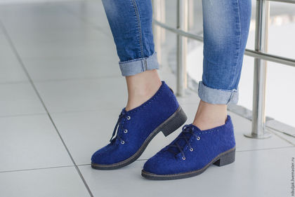 Обувь ручной работы. Ярмарка Мастеров - ручная работа. Купить Валяные полуботинки Лазурный город. Handmade. Тёмно-синий, nora