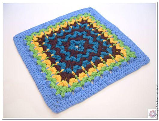 Текстиль, ковры ручной работы. Ярмарка Мастеров - ручная работа. Купить Коврик разноцветный вязаный из шнура Италия. Handmade. Голубой