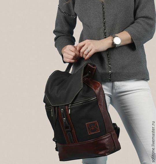 Кожаный рюкзак Черный с рыжим, Рюкзаки, Москва,  Фото №1