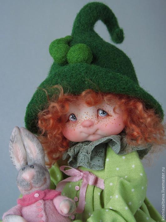 """Коллекционные куклы ручной работы. Ярмарка Мастеров - ручная работа. Купить """"Горошинка Пиа"""". Handmade. Зеленый, кукла в шляпке, кружево"""