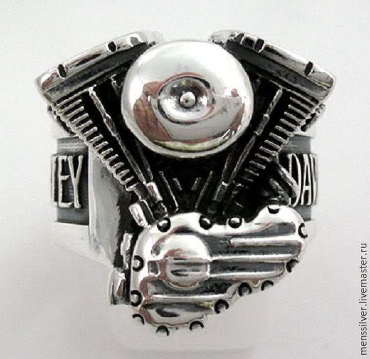 Эксклюзивный мужской серебряный Перстень `Harley Davidson`