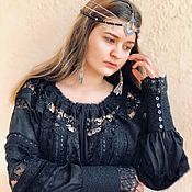 Одежда handmade. Livemaster - original item Blouse black embroidery and lace long-sleeved Odile. Handmade.