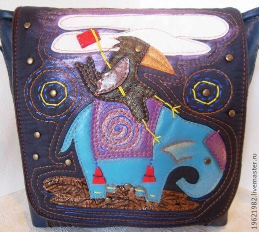 Женские сумки ручной работы. Ярмарка Мастеров - ручная работа. Купить сумка ОПТИМИСТИЧНАЯ  ВОРОНА. Handmade. Тёмно-синий