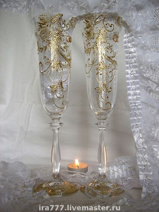 """Свадебные аксессуары ручной работы. Ярмарка Мастеров - ручная работа. Купить Свадебные бокалы """" Версаль в золоте """". Handmade."""