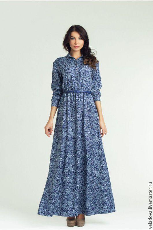 """Платья ручной работы. Ярмарка Мастеров - ручная работа. Купить Платье рубашка из хлопка """"Синева"""". Handmade. Синий, сине белый"""