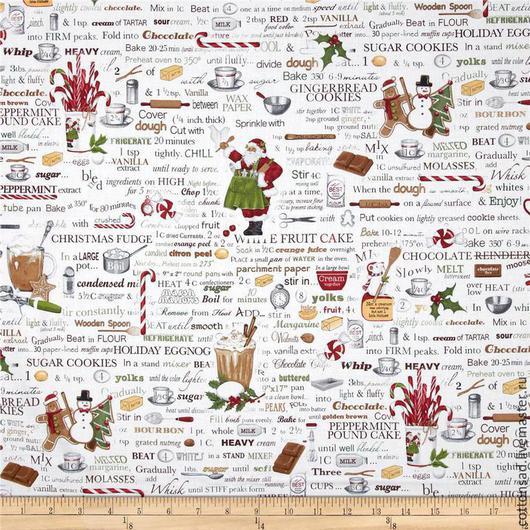 """Шитье ручной работы. Ярмарка Мастеров - ручная работа. Купить Ткань для пэчворка. """"Рождественская Кухня"""". Хлопок США. Арт.566. Handmade."""