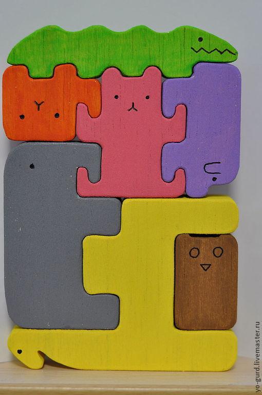"""Развивающие игрушки ручной работы. Ярмарка Мастеров - ручная работа. Купить Пазл """"Ноев ковчег""""  7 зверей. Handmade. Пазл"""