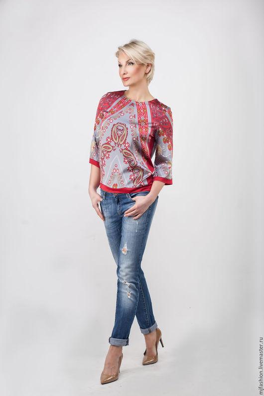 Блузки ручной работы. Ярмарка Мастеров - ручная работа. Купить Шелковая блуза с лампасами (арт. 3112). Handmade. Пейсли