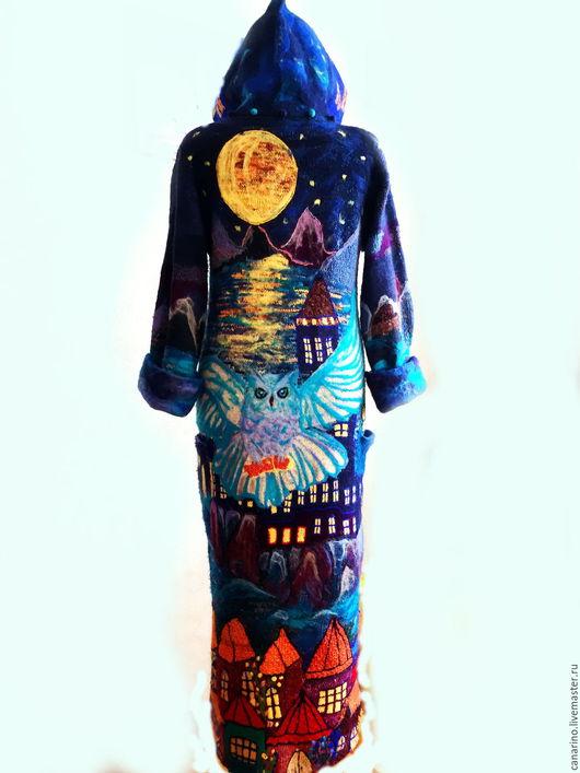 """Верхняя одежда ручной работы. Ярмарка Мастеров - ручная работа. Купить ПАЛЬТО""""Ночной страж"""".. Handmade. Тёмно-синий, сова"""