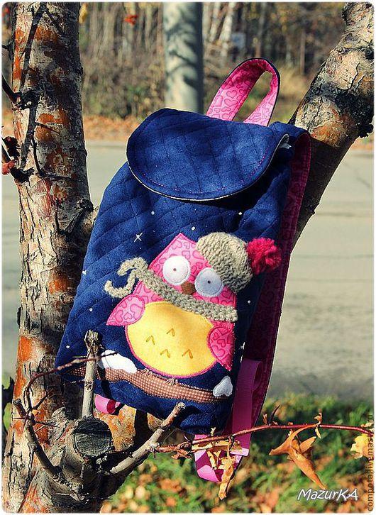 Рюкзаки ручной работы. Ярмарка Мастеров - ручная работа. Купить Утепленный детский рюкзак с аппликацией. Handmade. Тёмно-синий, фетр