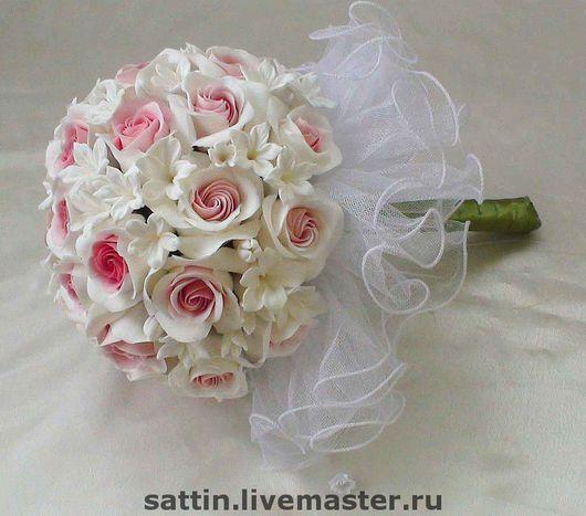 Свадебные цветы ручной работы. Ярмарка Мастеров - ручная работа. Купить Букет невесты с розами (сделан из японской глины DECO). Handmade.