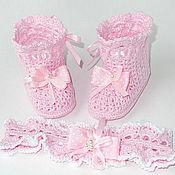 Работы для детей, ручной работы. Ярмарка Мастеров - ручная работа Пинетки сапожки вязаные розовые. Handmade.