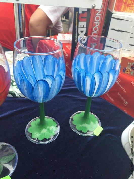 """Бокалы, стаканы ручной работы. Ярмарка Мастеров - ручная работа. Купить Бокалы """"Голубые ромашки"""". Handmade. Разноцветный"""