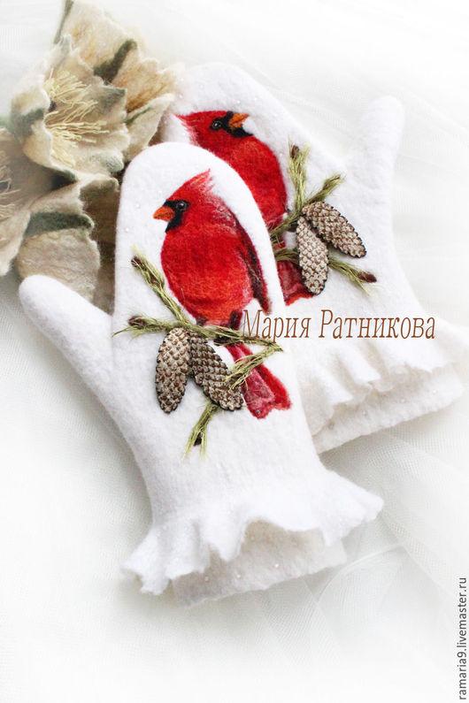"""Варежки, митенки, перчатки ручной работы. Ярмарка Мастеров - ручная работа. Купить """"ЗИМУШКА"""" Варежки валяные,кардинал,птица. Handmade."""