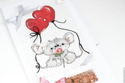 Валентинки ручной работы. Ярмарка Мастеров - ручная работа. Купить открытка с мышками на День Святого Валентина. Handmade. Белый, мышка