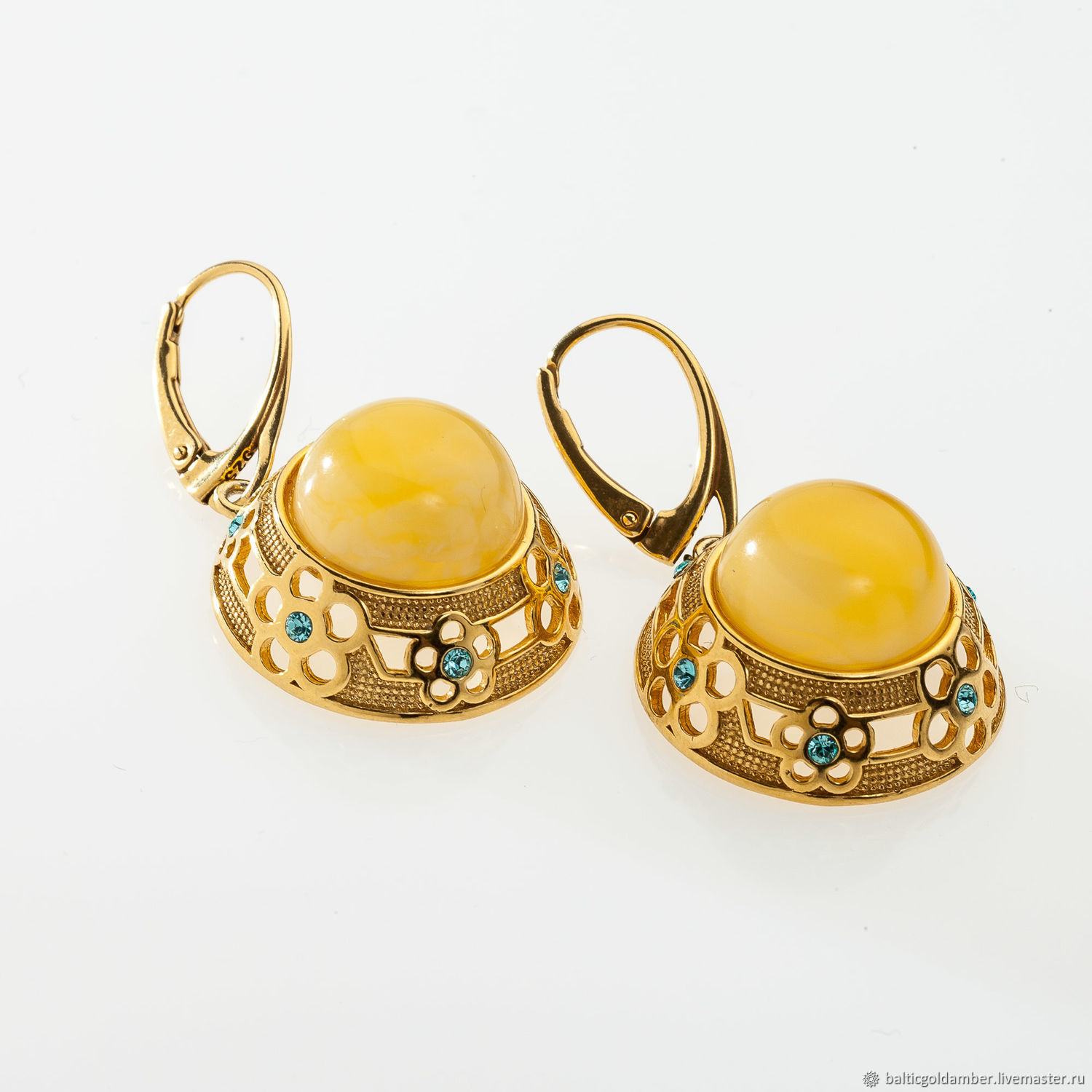 Earrings with Baltic amber and blue Swarovski crystals, Earrings, Moscow,  Фото №1