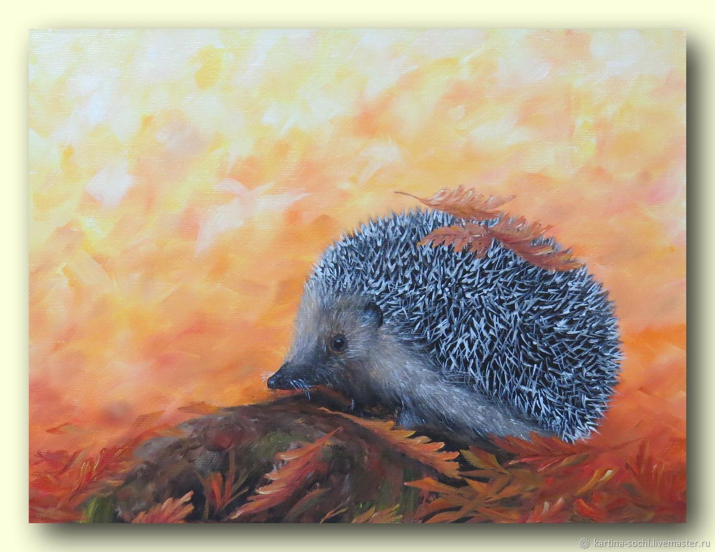 Картина с ежиком Картина маслом на холсте лесные животные осень, Картины, Сочи,  Фото №1