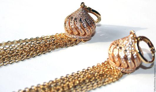 """Серьги ручной работы. Ярмарка Мастеров - ручная работа. Купить Серьги """"Королевский гранат"""", гранат, фианиты, позолота. Handmade. Золотой"""