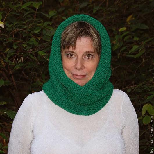"""Шали, палантины ручной работы. Ярмарка Мастеров - ручная работа. Купить Снуд-шарф """"Изумрудный"""" ( полушерсть). Handmade. Снуд"""