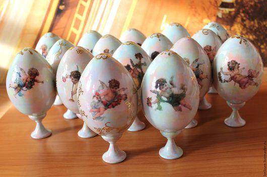 яйца пасхальные, фаянсовое небо, золотые вензеля и чудо ангелы - сувенир на праздник