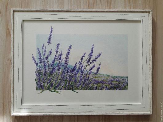 """Пейзаж ручной работы. Ярмарка Мастеров - ручная работа. Купить """"Лаванда"""". Handmade. Пейзаж, пастель, цветы, сиреневый, пастель"""