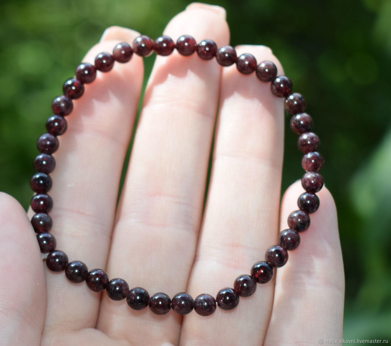 Bracelet natural garnet stone, Bead bracelet, Moscow,  Фото №1