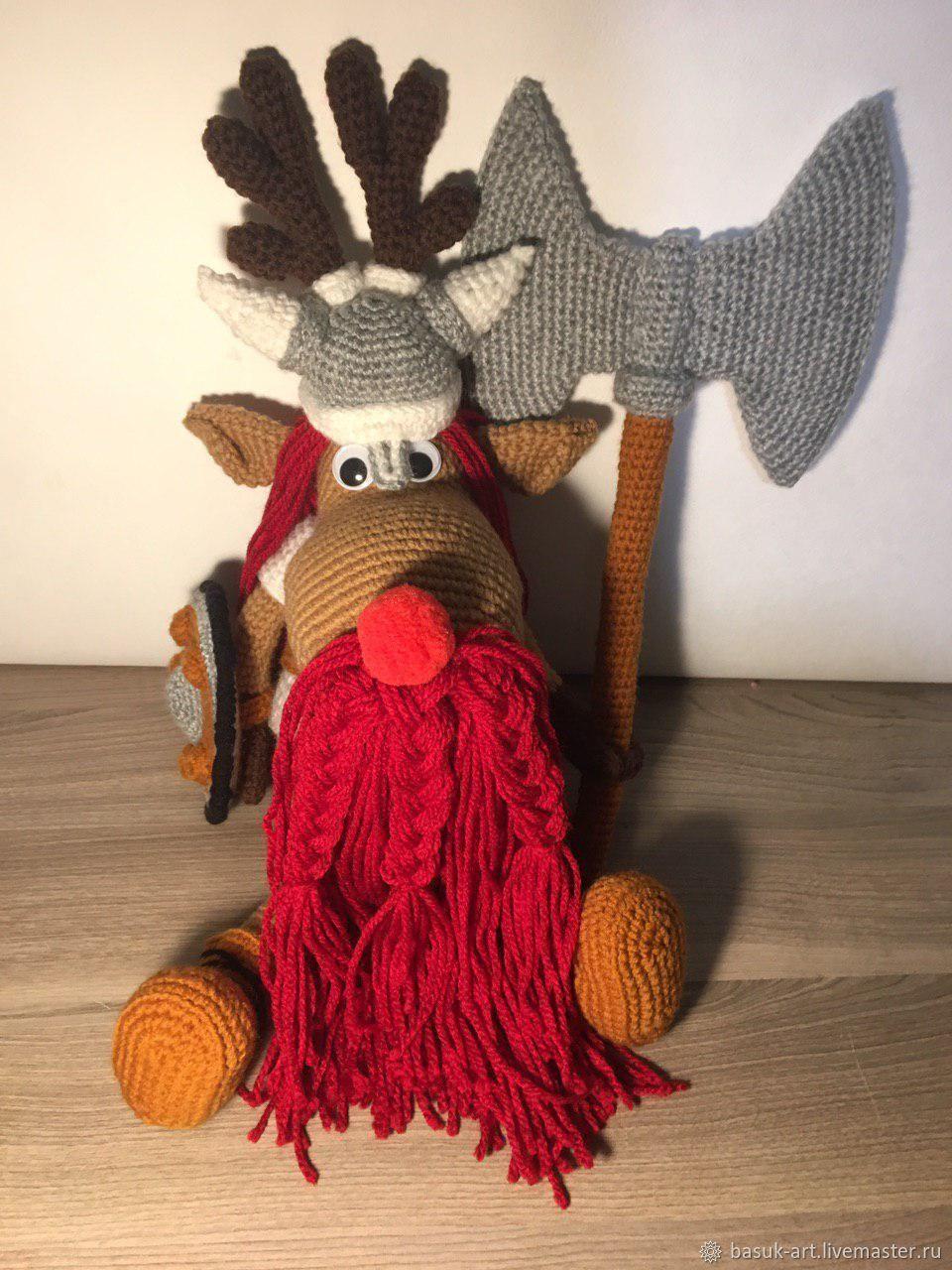 Вязанная мягкая игрушка Лось-Викинг. Игрушка для детей, Мягкие игрушки, Краснодар,  Фото №1