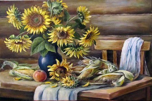 Натюрморт ручной работы. Ярмарка Мастеров - ручная работа. Купить Подсолнухи и кукуруза. Handmade. Подсолнухи, подарок, подарок на любой случай