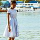 Платья ручной работы. Ярмарка Мастеров - ручная работа. Купить Платье с якорем. Handmade. Белый, платье повседневное, хлопковое платье