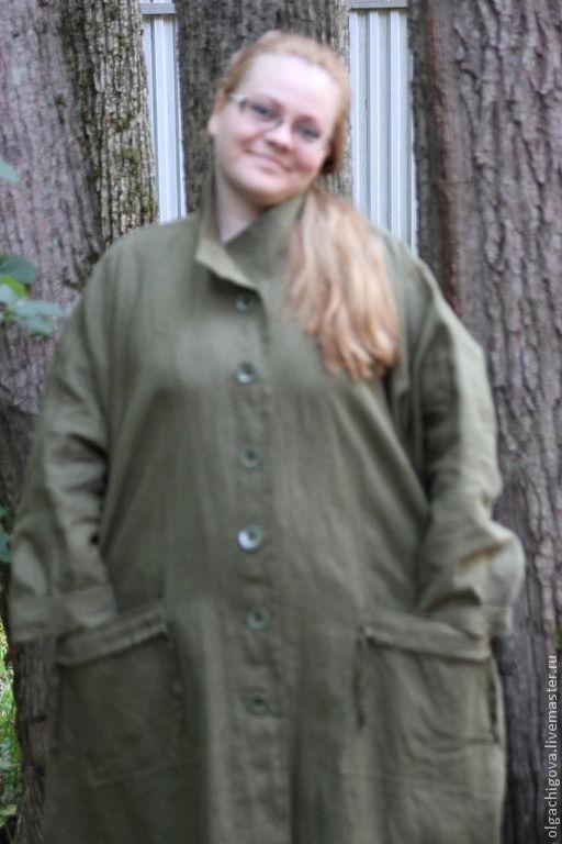 """Большие размеры ручной работы. Ярмарка Мастеров - ручная работа. Купить Пальто летнее """"Хаки"""". Handmade. Хаки"""
