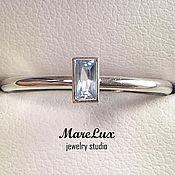 """Украшения ручной работы. Ярмарка Мастеров - ручная работа """"Аквамарин багет"""" кольцо из серебра 925 от MareLux. Handmade."""